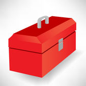 Closed red tool box isolated — Stock Vector