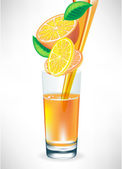 Succo d'arancia, versando nel bicchiere — Vettoriale Stock