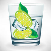 Glass of water with ice and lemon — Stock Vector