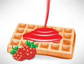 Pouring berry syrup over belgian waffle — Stock Vector