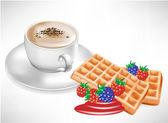 Tasse à café avec gaufres avec berry — Vecteur