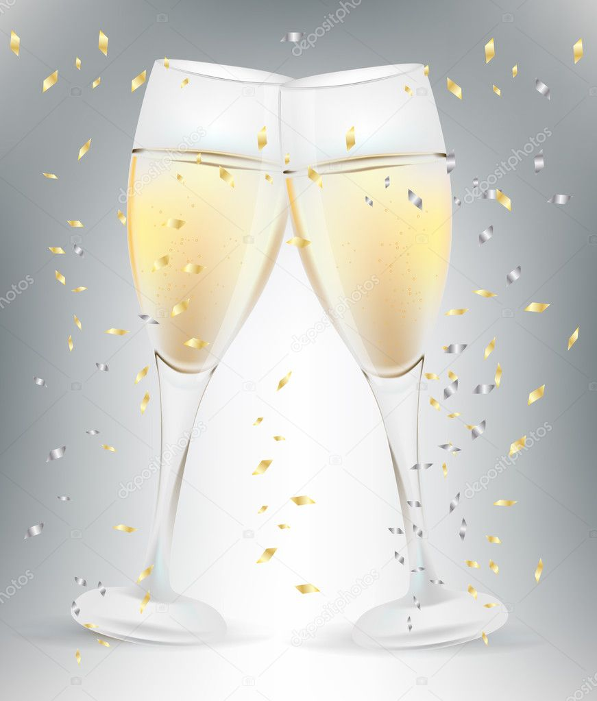 Two celebration champagne glasses and confetti — Stock Vector #6947943