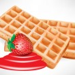 Belgian waffles with strawberry — Stock Vector