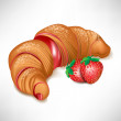 Vector de stock : Croissant with strawberry cream filling
