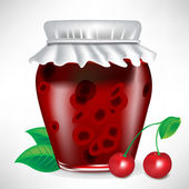 Jar of cherry jam with fruit — Stock Vector