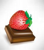 Trozo de chocolate con fresa — Vector de stock