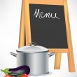 Menu blackboard and cooking pot with vegetables — Stock Vector #7040901