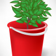 Red bucket with small tree isolated on white — Stock Vector
