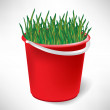 Red bucket with growing grass isolated on white — Stock Vector