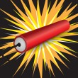 Single dynamite exploding — Stock Vector