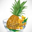 Pineapple fruit and slices in transparent bowl — Stock Vector