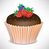Baya chocolate torta de la taza — Vector de stock
