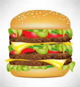 Big burger isolated — Stock Vector