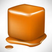 Single melted caramel cube isolated — Stock Vector