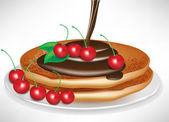 Deux crêpes avec penché au chocolat et cerises — Vecteur