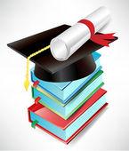 Pila tapa, diploma y libro de graduación — Vector de stock