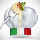 Italian chef hat with pasta in fork — Stock Vector