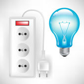 Electric outlet with cable and light bulb — Stock Vector