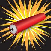 Single dynamite exploding — Stock Vector