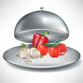 Catering lade openen met tomaten, knoflook en peper — Stockvector