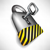 Lock with key and attention black and yellow stripes — Stock Vector