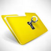 Empty yellow folder with key — Stock Vector