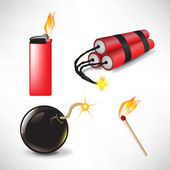 Flammable icons: bomb lighter with flame, match and dynamite — Stock Vector