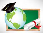 Jorden världen utbildning diplom och avläggande av examen mössa på svarta tavlan — Stockvektor