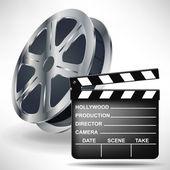 Klaket film ve film makarası — Stok Vektör