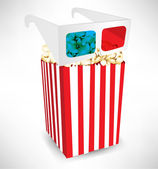 Three dimensional movie glasses on top of popcorn bucket — Stock Vector