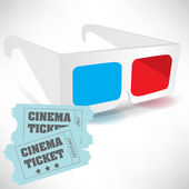 Cinema tickets and three dimensional glasses — Stock Vector