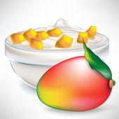 Yogurt cream in transparent bowl with mango slices — Stock Vector