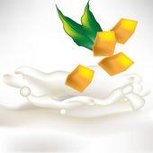 Mango slices in milk splash with fresh leaf — Stock Vector