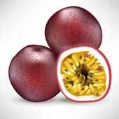 Fresh pile of passion fruit and sliced fruit — Stock Vector