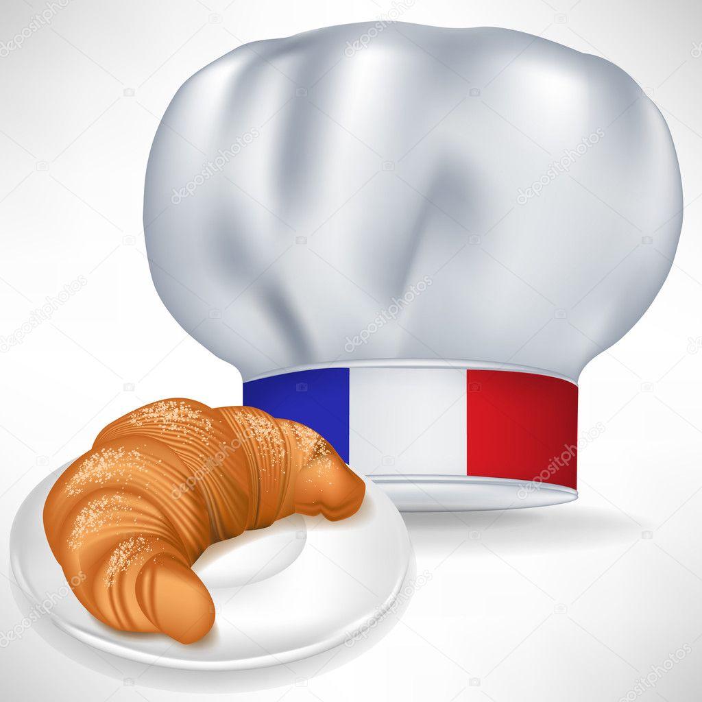 Gorro de chef cocina con croissant franc s vector de for Chef en frances