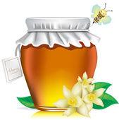 Single honey jar with tag — Stock Vector