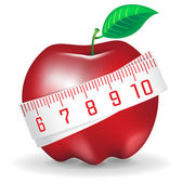 Measuring tape around fresh red apple — Stock Vector