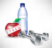 Dumbbell with water bottle and apple with measure tape — Stock Vector