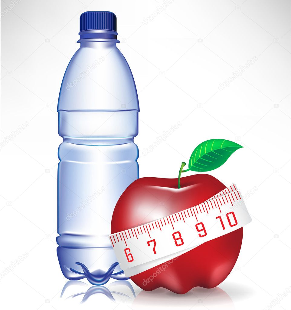 Healthy fitness concept; water bottle and apple with measure tape — Stock Vector #7198661