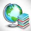 Terrestrial school earth globe and pile of books — Vettoriali Stock