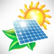 Stock Vector: Solar energy panel with sun and leaves