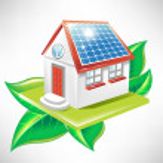 House with solar panel; alternative energy icon — Stock Vector #7266551