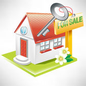 House with key and for sale sign — Stock Vector
