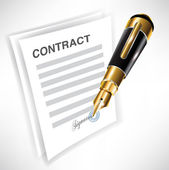 Signing contract with pen — Stock Vector