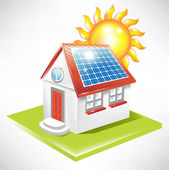 House with solar panel — Stock Vector