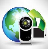 Camera and earth globe — Stock Vector