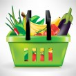 Shopping basket with vegetables — Stock Vector