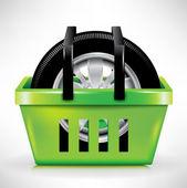 Car tire in shopping cart/basket — Stock Vector