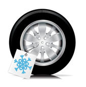 Car tire with winter tag — Stock Vector