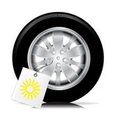 Car tire with summer sign — Stock Vector